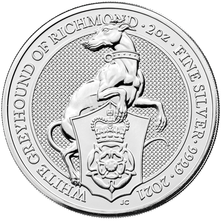 2021 UK Queen's Beasts The White Greyhound of Richmond 2oz Silver Coin
