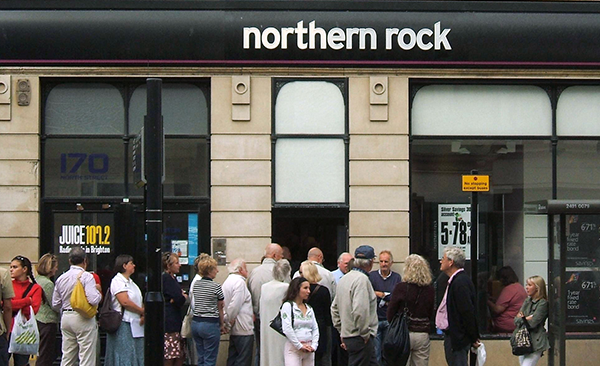 Northern Rock bank for the financial crisis of 2007/2008