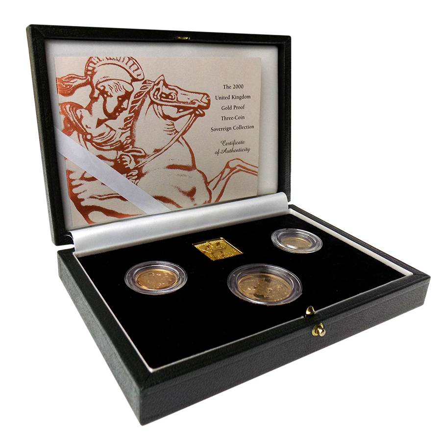 Pre-Owned 2000 UK Proof Sovereign 3 Gold Coin Set