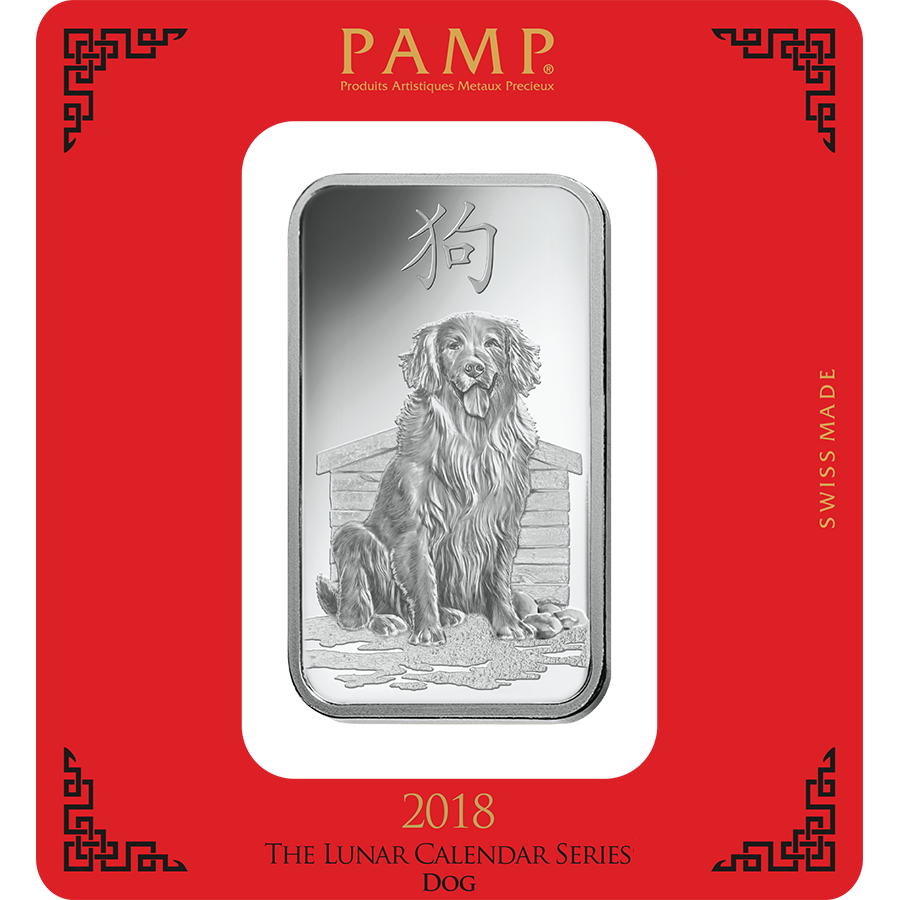 PAMP 2018 Lunar Dog 100g Silver Bar