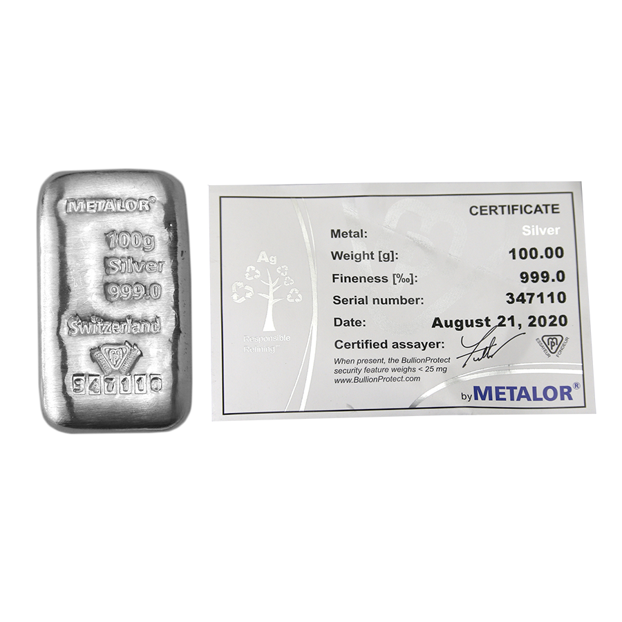Metalor 100g Silver Bar (Image 1)