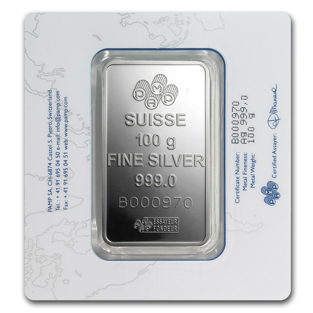 Pamp Suisse Fortuna 100g Silver Bar 100g Silver Bars