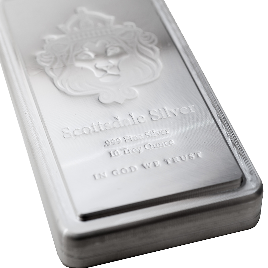 Scottsdale Mint 10oz Stacker Silver Bar Atkinsons Silver