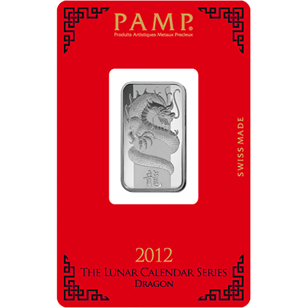 PAMP 2012 Lunar Dragon 10g Silver Bar