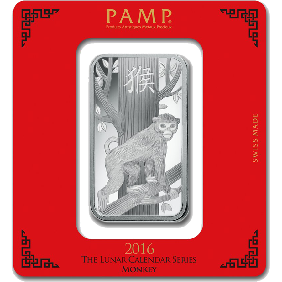 PAMP 2016 Lunar Monkey 100g Silver Bar