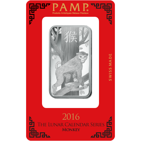 PAMP 2016 Lunar Monkey 1oz Silver Bar