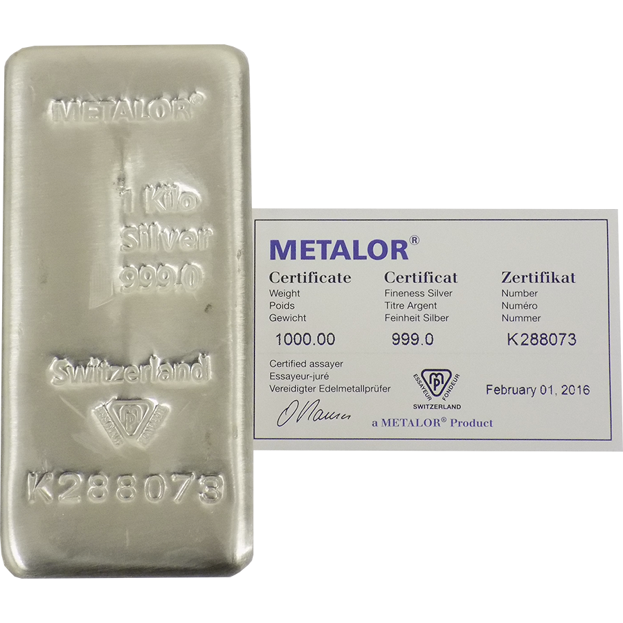 Pre-Owned Metalor 1Kg Silver Bar (Image 1)