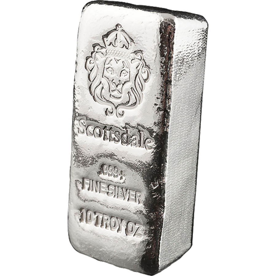Scottsdale Mint 10oz Cast Silver Bar Atkinsons Bullion
