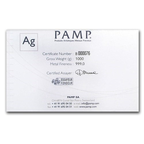 Pre-Owned PAMP Suisse Fortuna 1kg Silver Bar (Image 3)