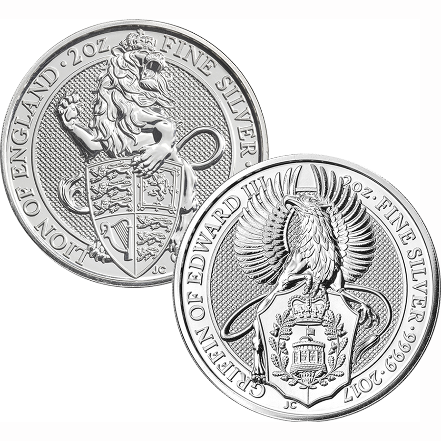 2016 & 2017 UK Queen's Beasts Lion & Griffin 2oz Silver Coin Collection (Image 1)