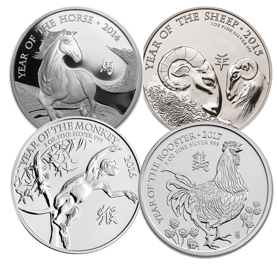 UK Lunar 1oz Silver 4 Coin Complete Collection