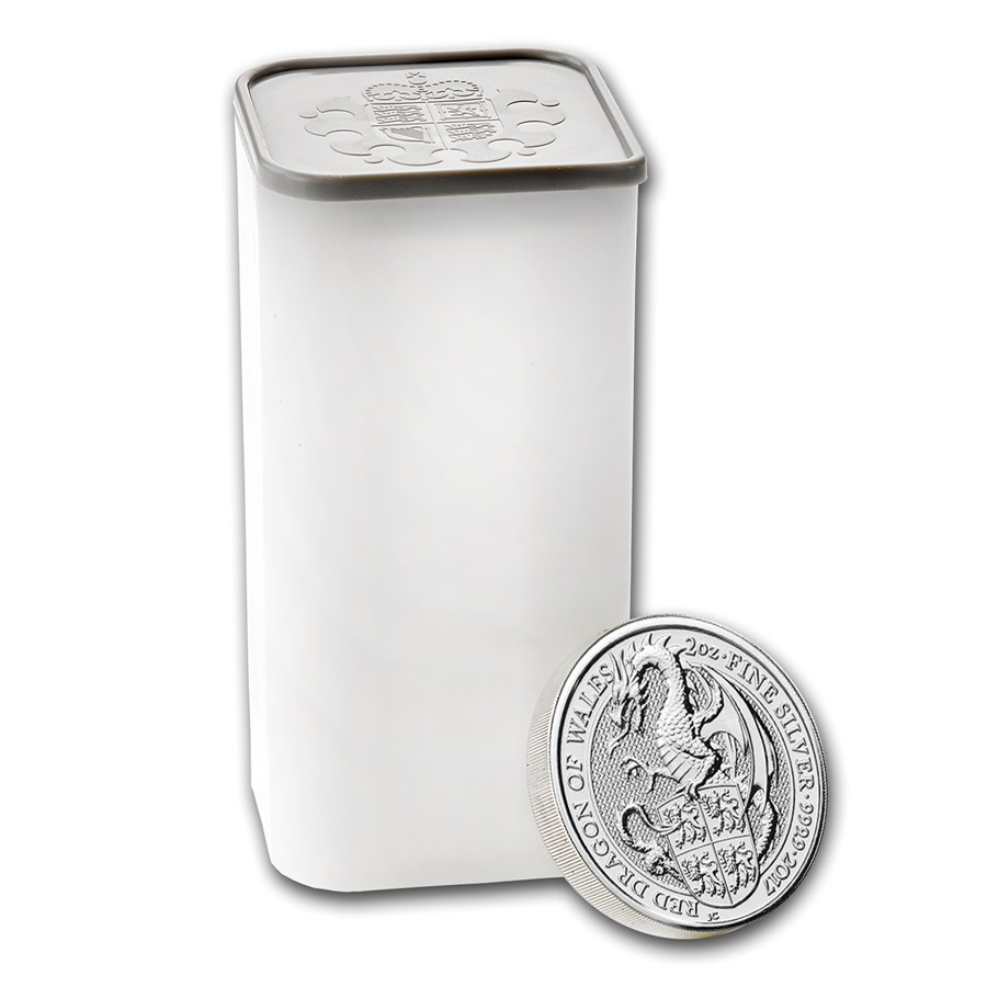 2017 UK Queen's Beasts The Dragon 2oz Silver Coin Tube - (10 Coins)