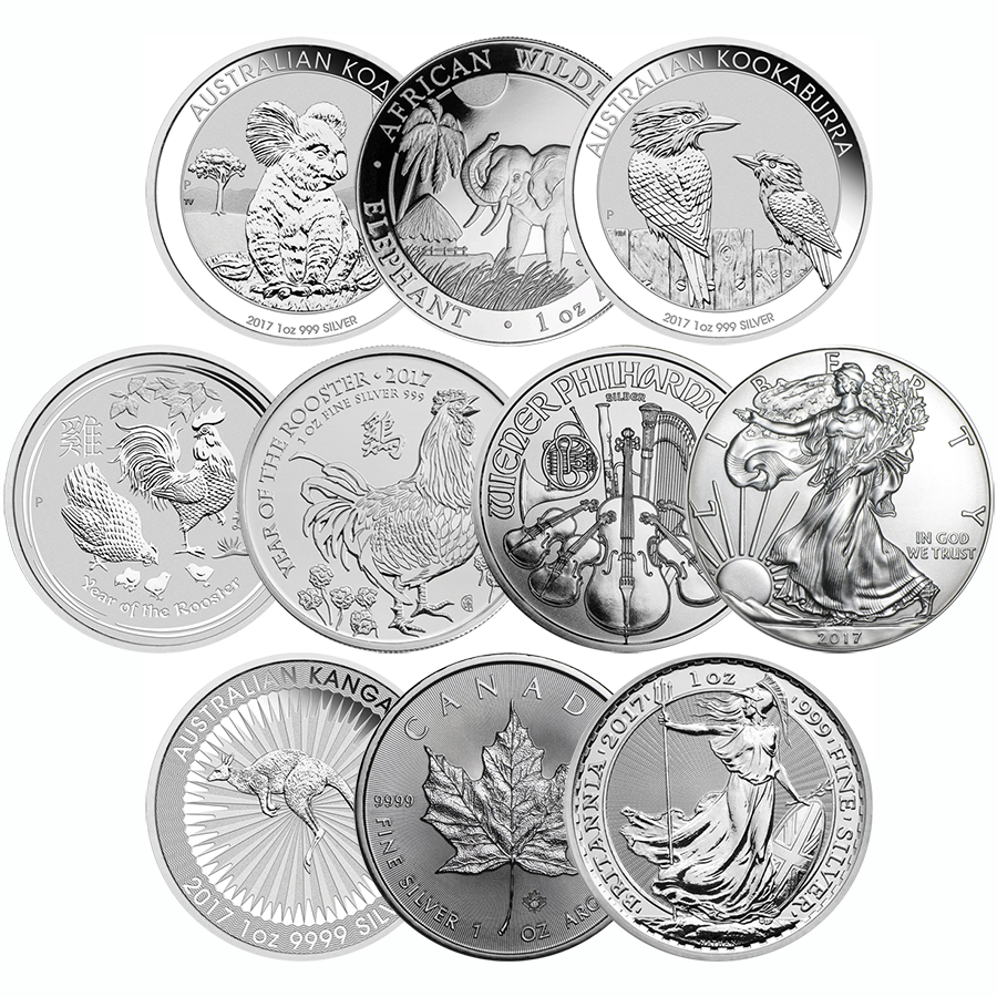 2017 Most Popular 1oz Silver Coin Collection (10 Coins)