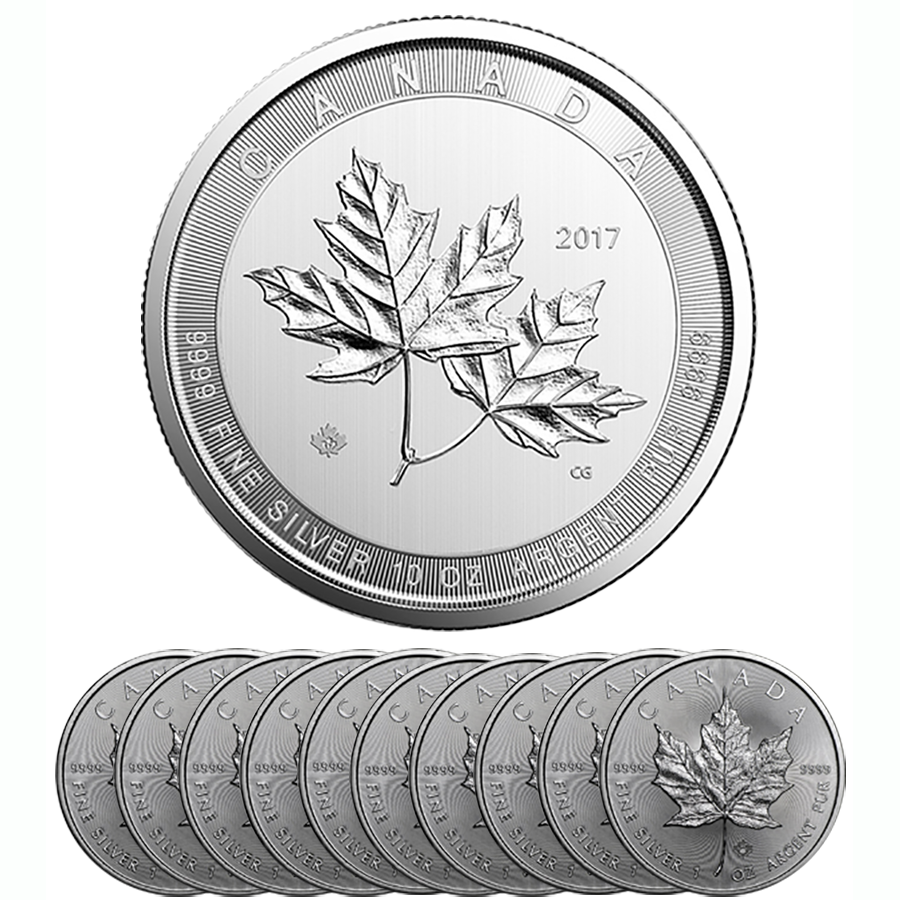 2017 Canadian Maple 10oz & 10 x 1oz Silver Coin Bundle