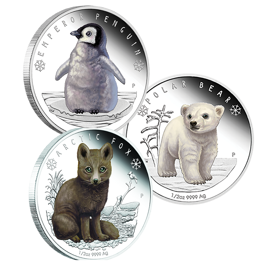 2017 Australian Proof Polar Babies 1/2oz Silver Coin 3 Coin Collection