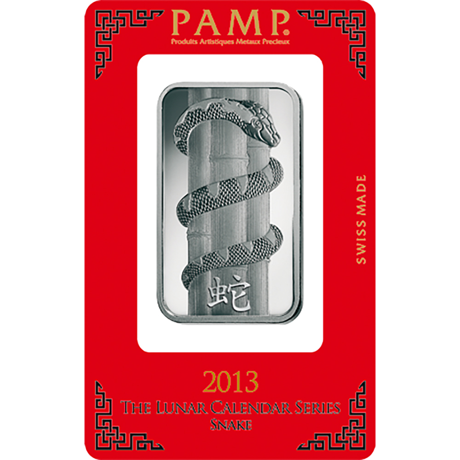 PAMP 2013 Lunar Snake 1oz Silver Bar with Gift Box & Certificate (Image 2)