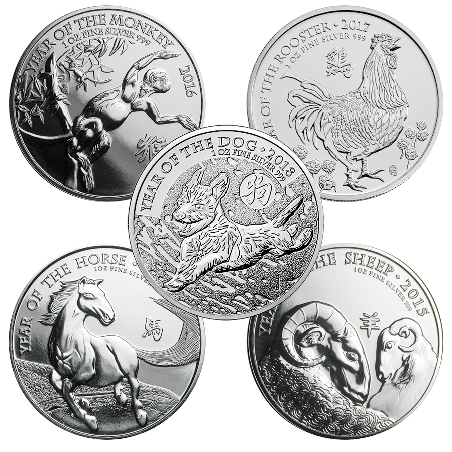 2014-2018 UK Lunar 1oz Silver 5-Coin Complete Collection