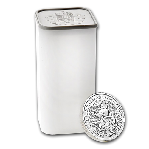 2018 UK Queen's Beasts The Unicorn 2oz Silver Coin Tube - (10 Coins)