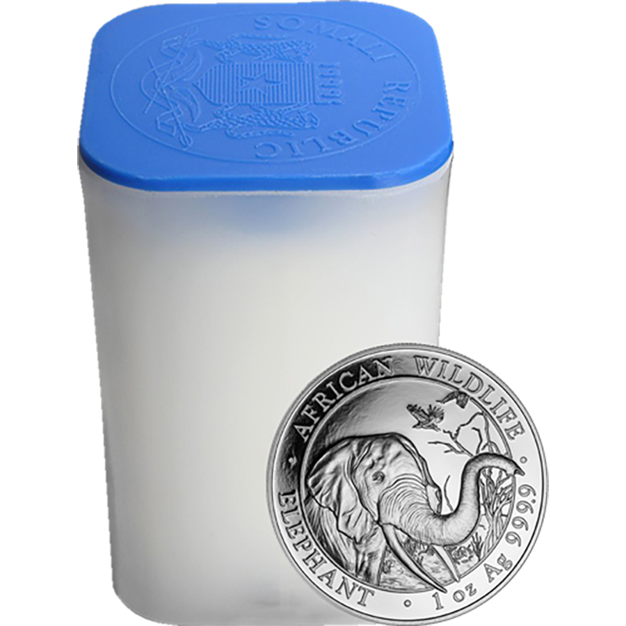 2018 Somalian Elephant 1oz Silver Coins in Tube - 20 Coins