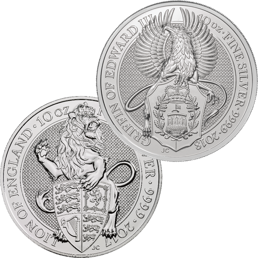 2018 & 2017 UK Queen's Beast Lion & Griffin 10oz Silver Coin Collection (2 coins)