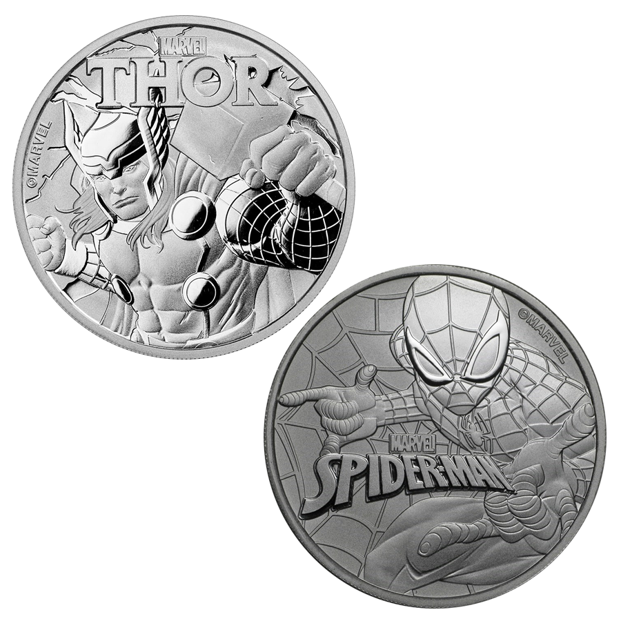 Marvel Spider-Man & Thor 1oz Silver Coin Collection (2 Coins)