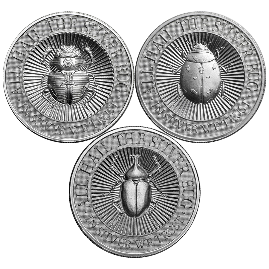 UHR The Silver Bug The 2oz Silver Round Collection (3 coins)