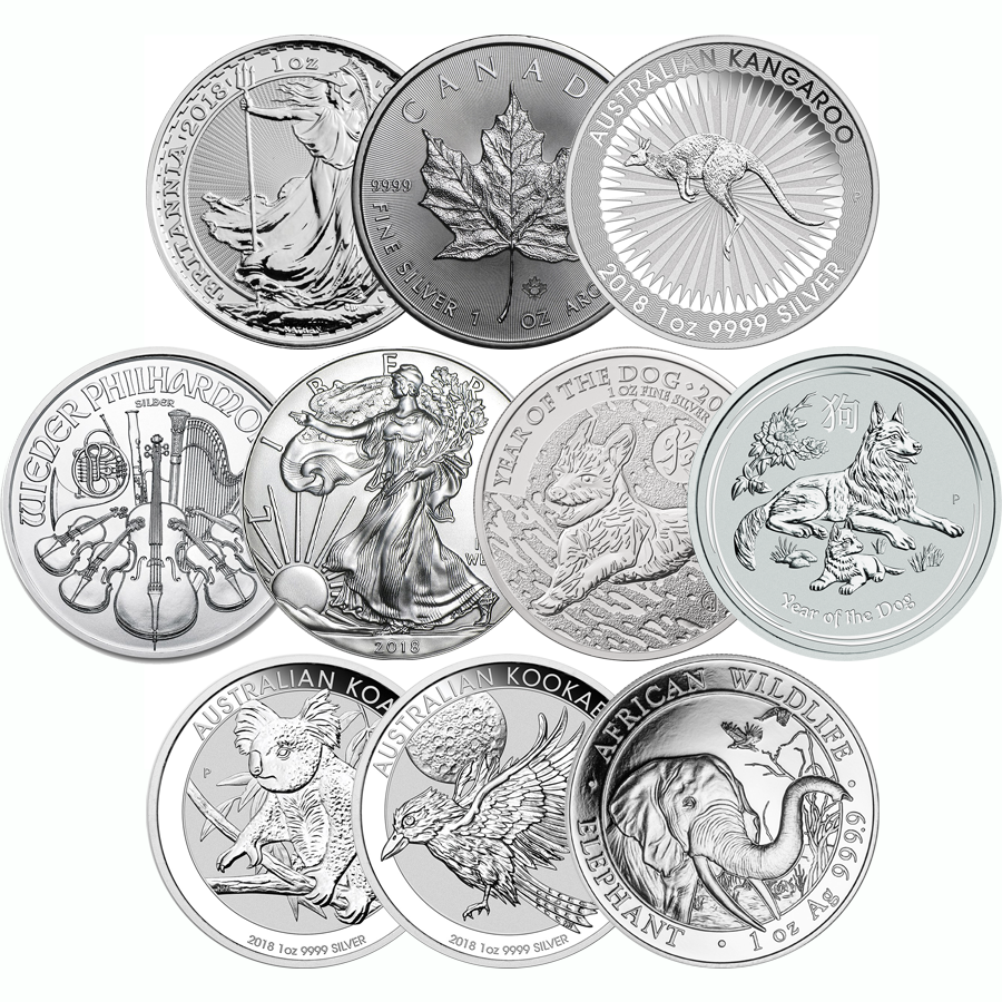 2018 Most Popular 1oz Silver Coin Collection - 10 Coins