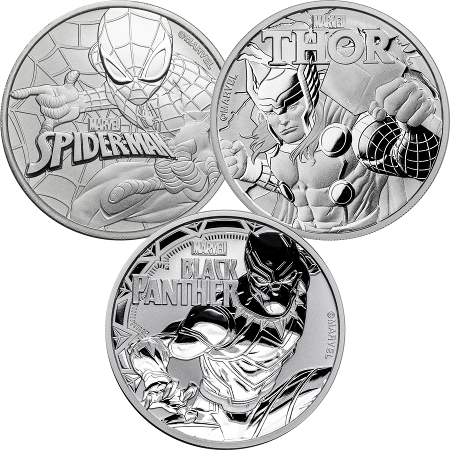 Marvel Spider-Man, Thor & Black Panther 1oz Silver Coin Collection - 3 Coins
