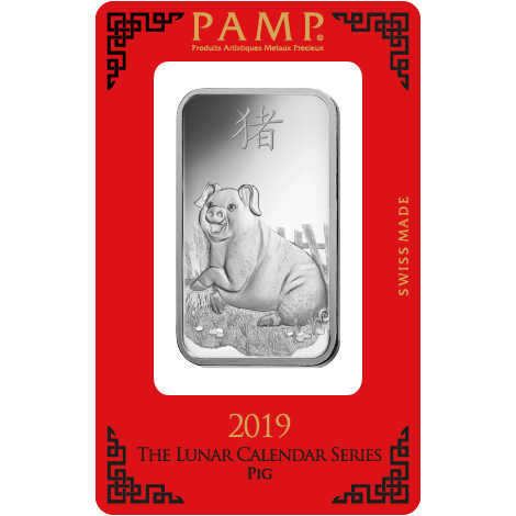 PAMP 2019 Lunar Pig 1oz Silver Bar with Gift Box & Certificate (Image 2)