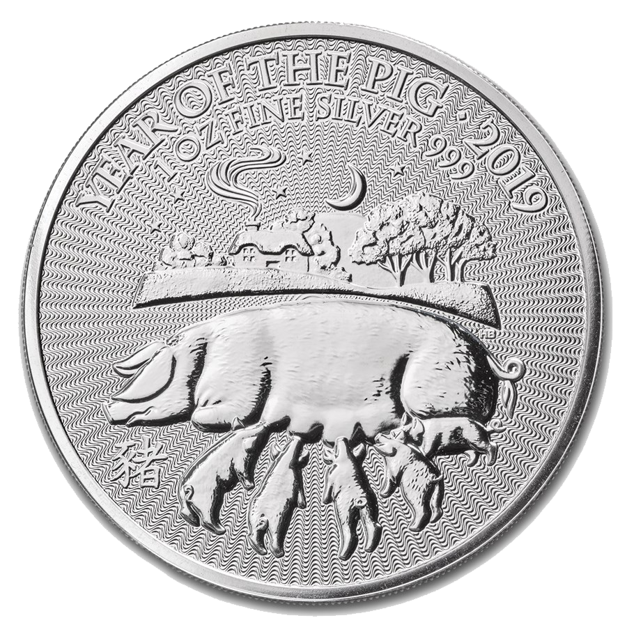2019 UK Lunar Pig 1oz Silver Coin - Mini Box of 100 Coins (Image 2)