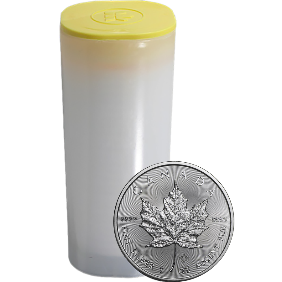 2019 Canadian Maple 1oz Silver Coin - Full Tube of 25 Coins
