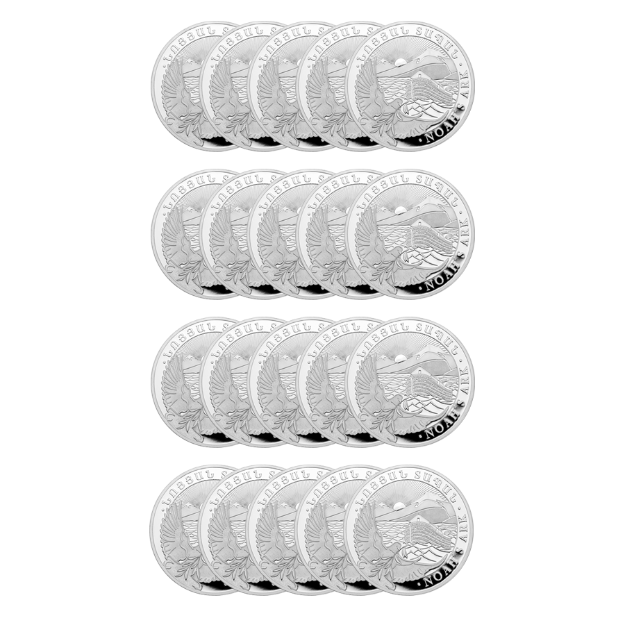 2019 Armenian Noah's Ark 1oz Silver Coin - Full Tube of 20 Coins (Image 2)