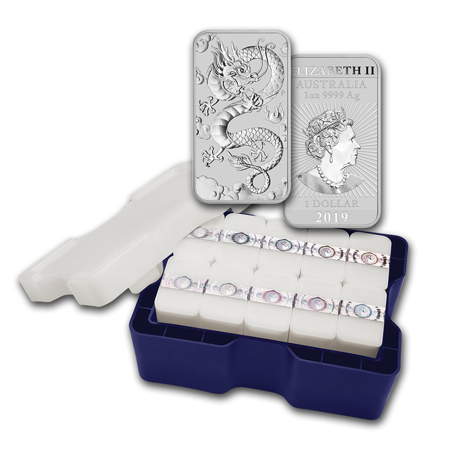2019 Australian Dragon Rectangular 1oz Silver Coin  - Mini Box of 200 Coins