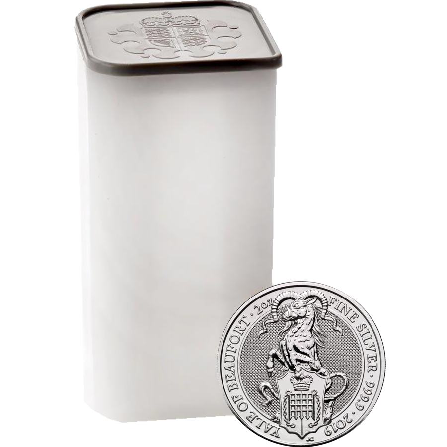 2019 UK Queen's Beasts The Yale of Beaufort 2oz Silver Coin - Full Tube of 10 Coins (Image 1)