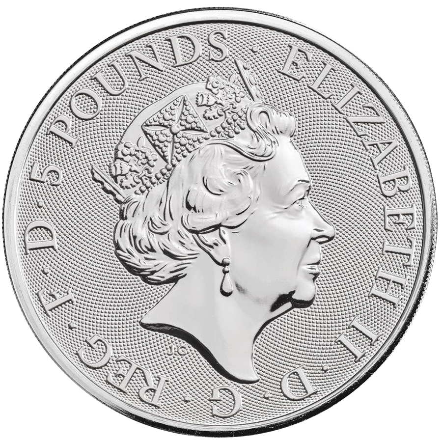 2019 UK Queen's Beasts The Yale of Beaufort 2oz Silver Coin - Full Tube of 10 Coins (Image 3)