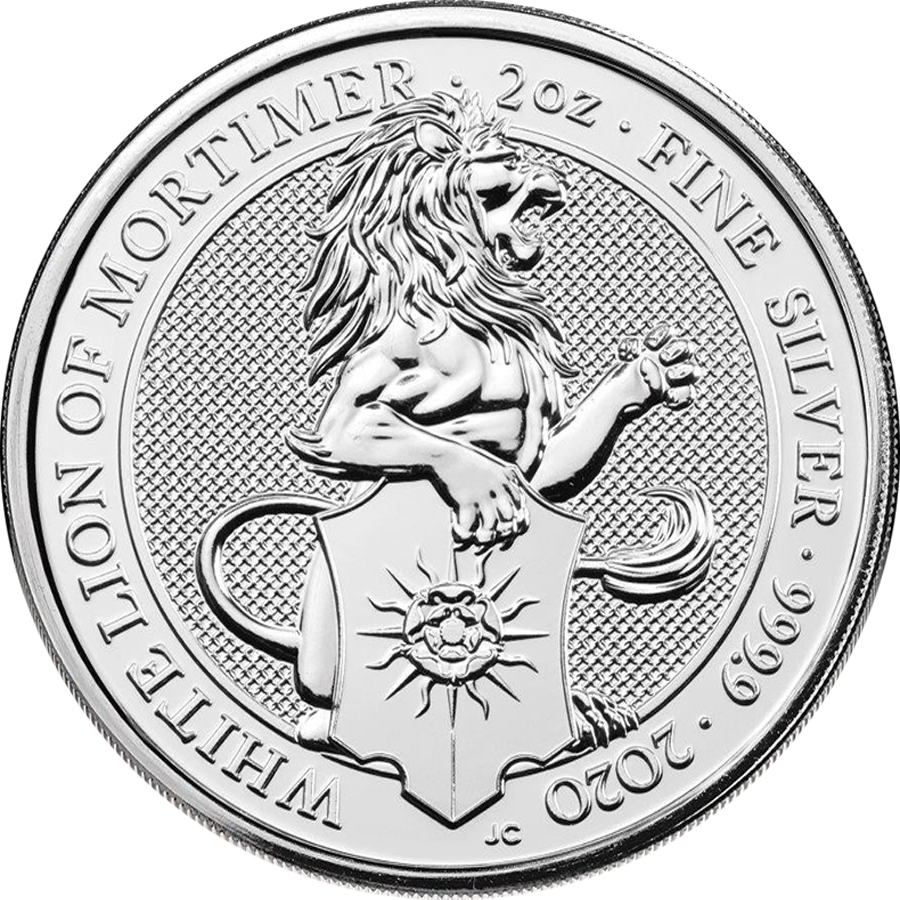 2020 UK Queen's Beasts The White Lion of Mortimer 2oz Silver Coin - Full Tube of 10 Coins (Image 2)