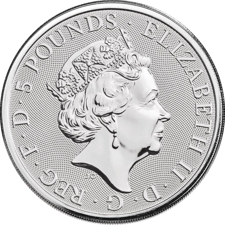 2020 UK Queen's Beasts The White Lion of Mortimer 2oz Silver Coin - Full Tube of 10 Coins (Image 3)