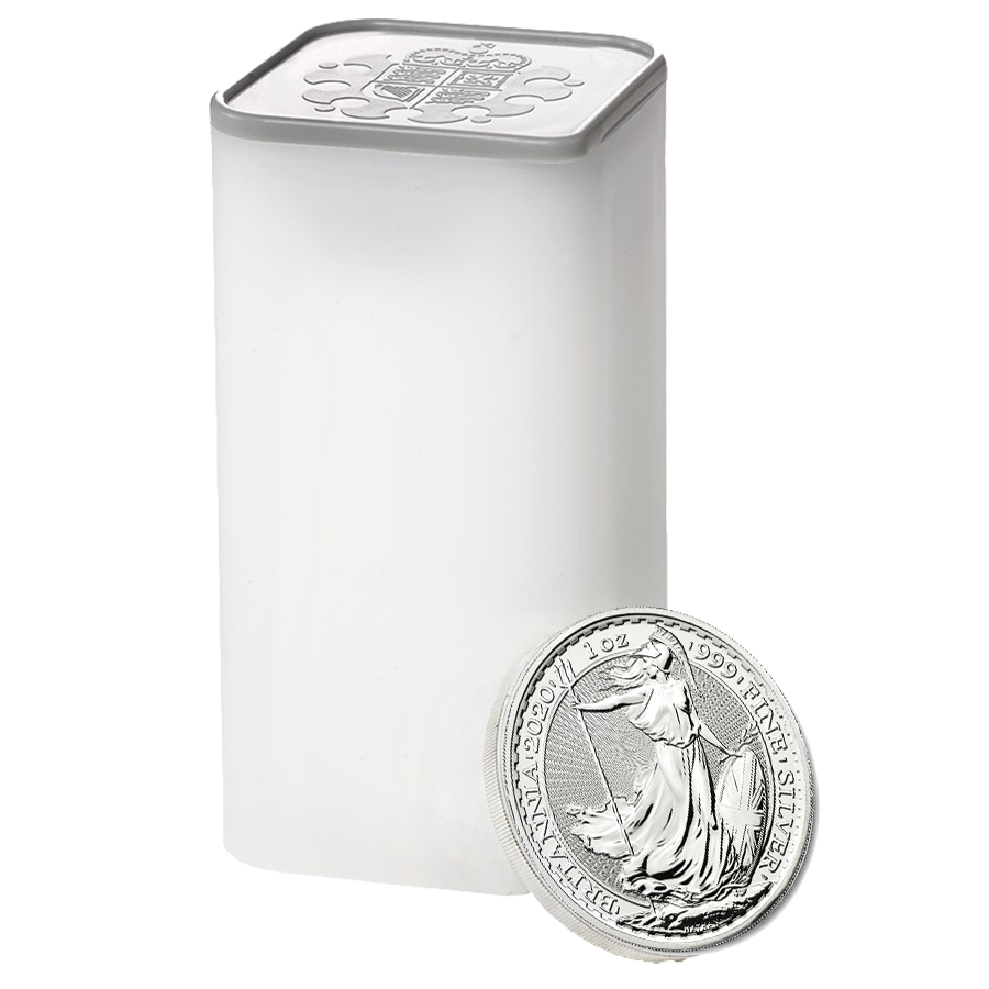 2020 UK Britannia 1oz Silver Coin - Mini Box of 100 Coins (Image 2)