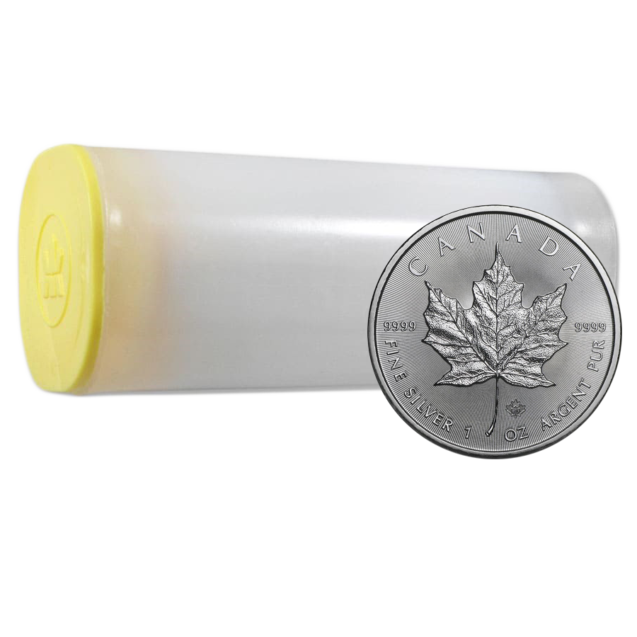 2020 Canadian Maple 1oz Silver Coin - Full Tube of 25 Coins (Image 1)