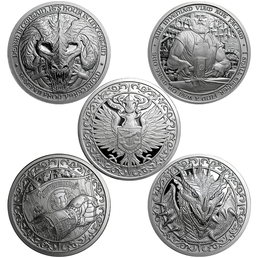 Destiny Knight 2oz Silver Round Collection - 5 Coins (Image 1)