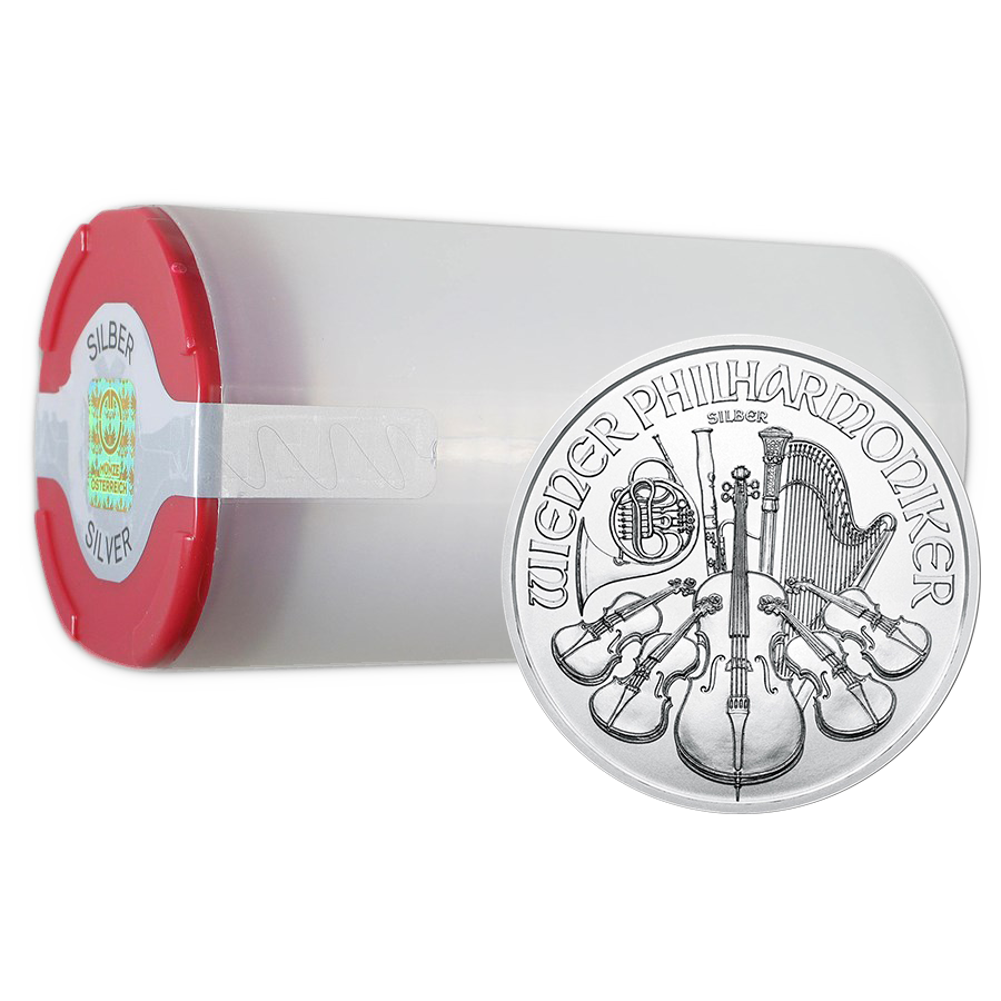 2020 Austrian Philharmonic 1oz Silver Coin - Full Tube of 20 Coins (Image 1)