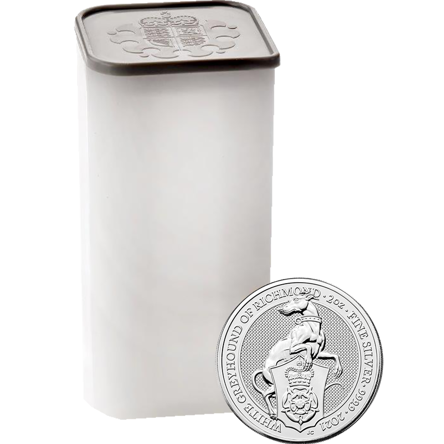 2021 UK Queen's Beasts The White Greyhound of Richmond 2oz Silver Coin - Full Tube of 10 Coins