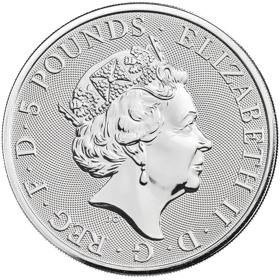 2021 UK Queen's Beasts The White Greyhound of Richmond 2oz Silver Coin - Full Tube of 10 Coins (Image 3)