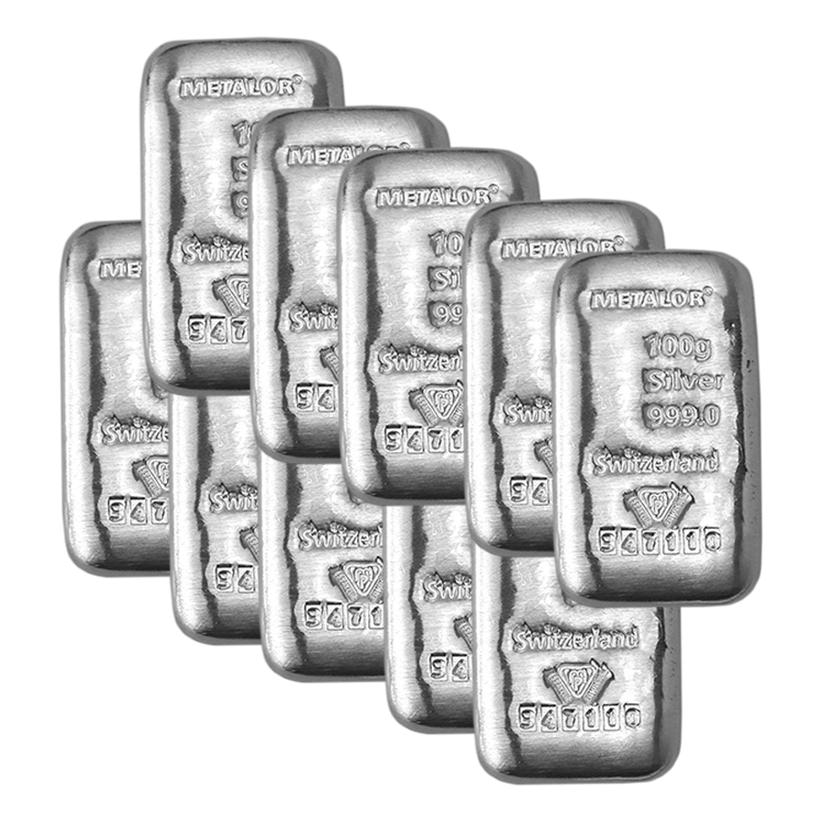 Metalor 100g Silver 10 Bar Bundle