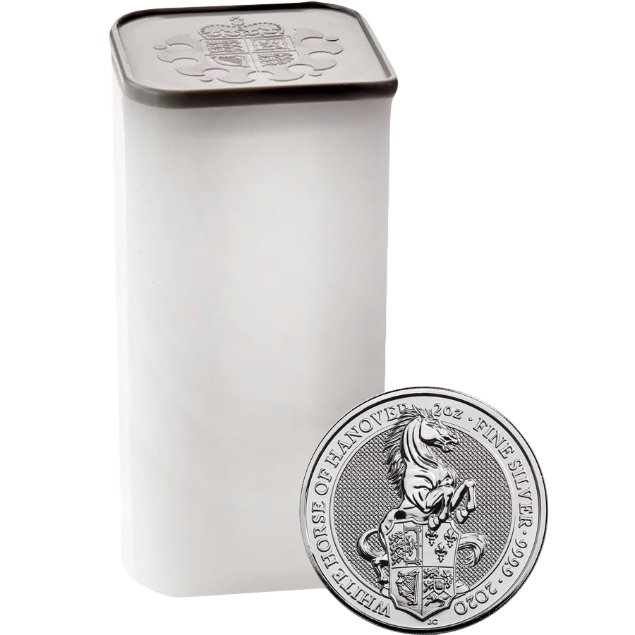 2020 UK Queen's Beasts The White Horse of Hanover 2oz Silver Coin - Full Tube of 10 Coins
