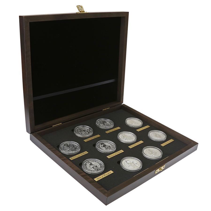 2016-2021 UK Queen's Beasts 2oz Silver Coin Full Collection in Wooden Presentation Box (10 Coins)