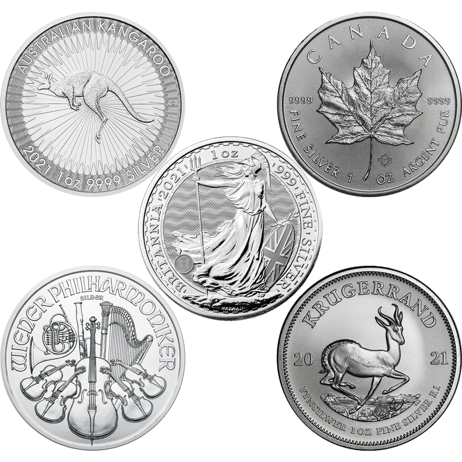 2021 Most Popular 1oz Silver Coin Collection - 5 Coins