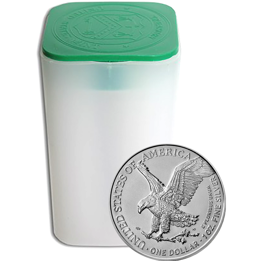 2021 USA Eagle Type II 1oz Silver Coin - Full Tube of 20 Coins