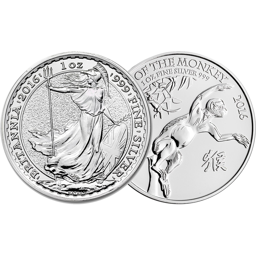 2016 UK Britannia & Lunar Monkey 1oz Silver Collection