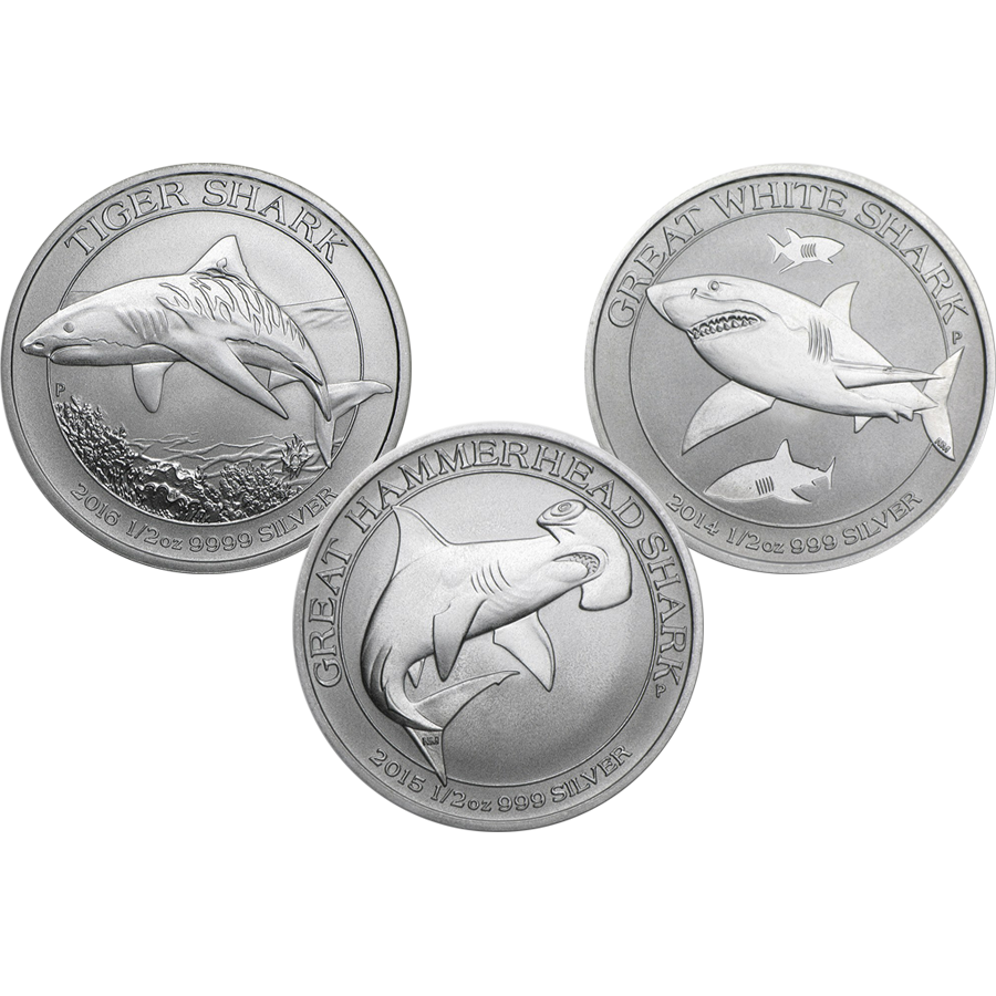 Australian Shark 1/2oz Silver 3 Coin Collection